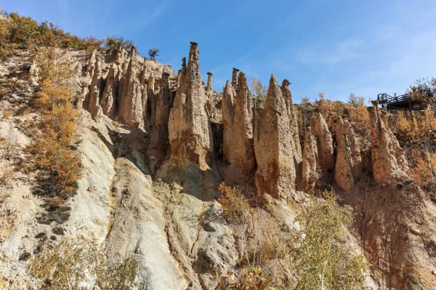Autumn Landscape of Rock Formation Devil's town in Radan Mountain, Serbia stock photo