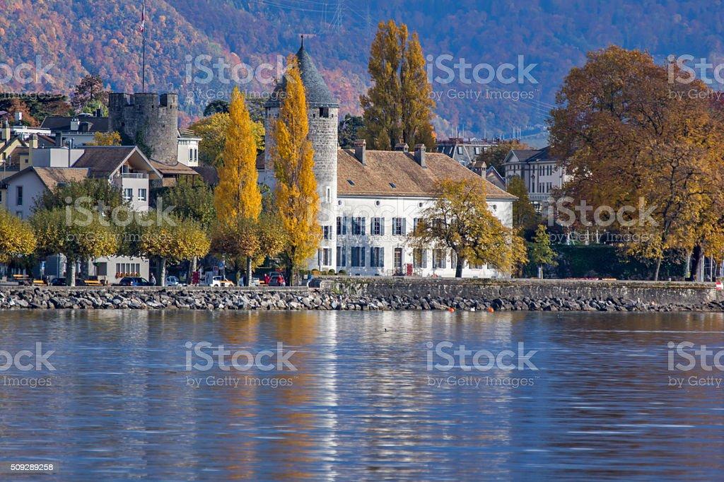 Autumn landscape of Vevey, canton of Vaud, Switzerland stock photo