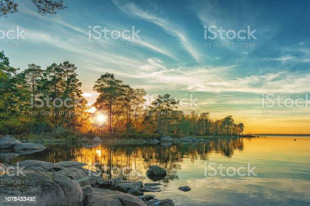 Photo of Autumn landscape on the lake at sunset time