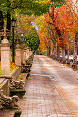 Autumn park with colorful trees, a walking alley and textured benches and flowerpots. Spain.