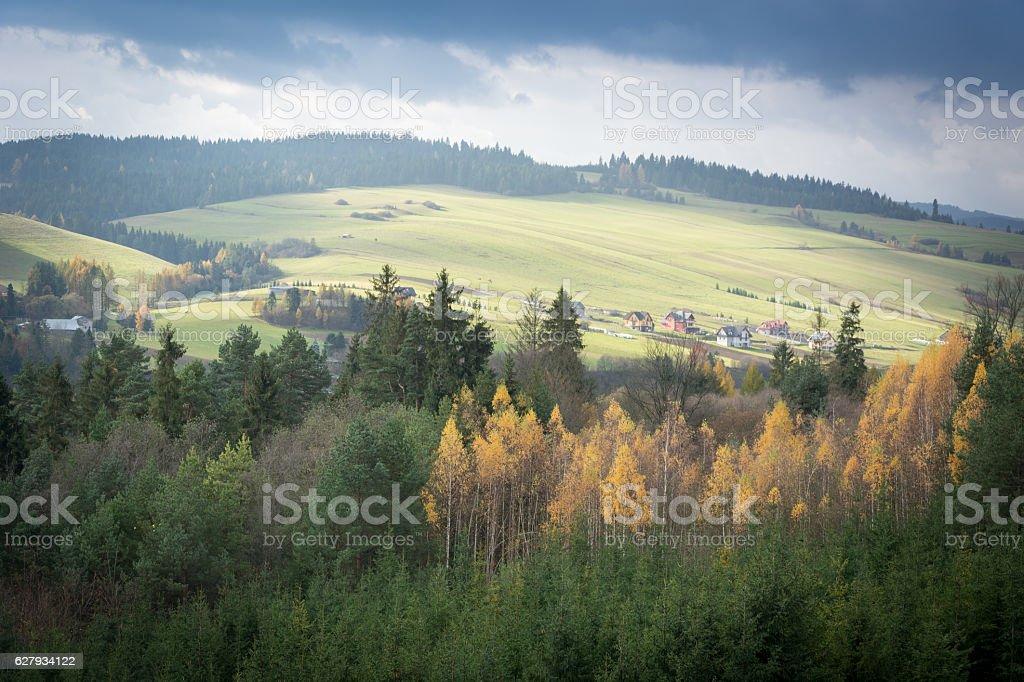 Autumn landscape - Pieniny mountains stock photo