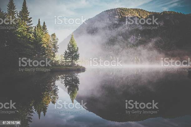 Photo of Autumn Landscape Reflection on Lake, Quebec, Canada