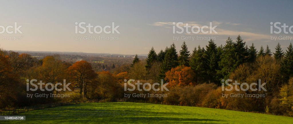 Autumn landscape, the hills, the forests stock photo