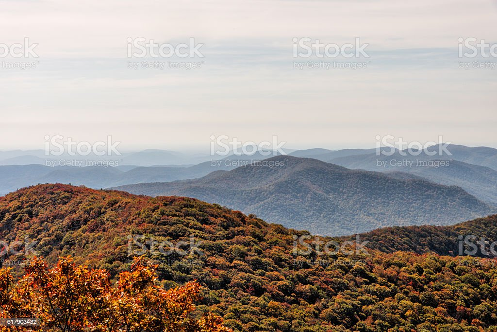 Autumn Landscape View from Brasstown Bald Mountain in Georgia stock photo
