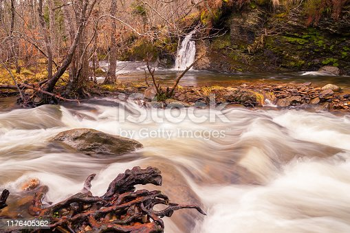 Waterfall on the Mountain Stream in the Forest