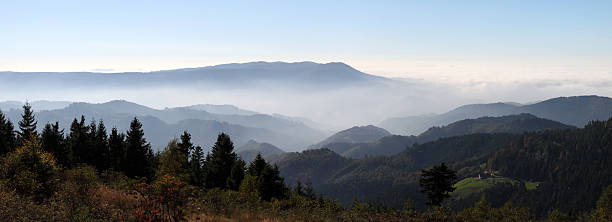 autumn landscape with fog in the Black Forest (Germany)  black forest stock pictures, royalty-free photos & images