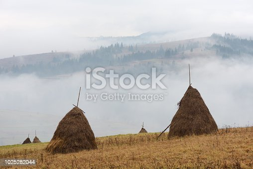 istock Autumn landscape with haystacks and fog in the mountains 1025282044
