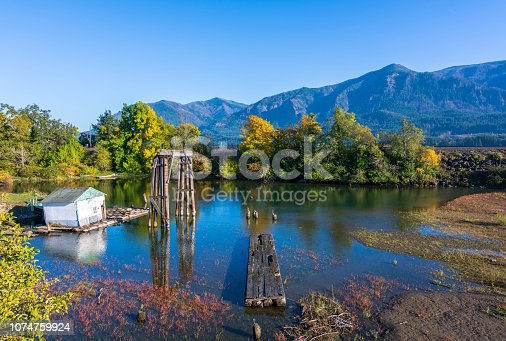 Autumn landscape with an old abandoned rotten wooden pier in the bay of the Columbia River with yellow autumn trees on the shore and railway embankment in Columbia River Gorge area