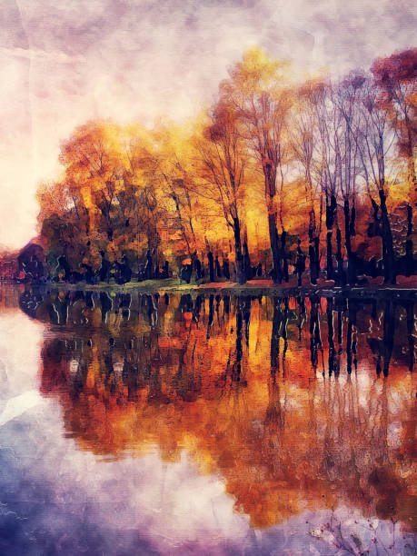 Autumn landscape with orange, red and yellow colors. Watercolor illustration – zdjęcie