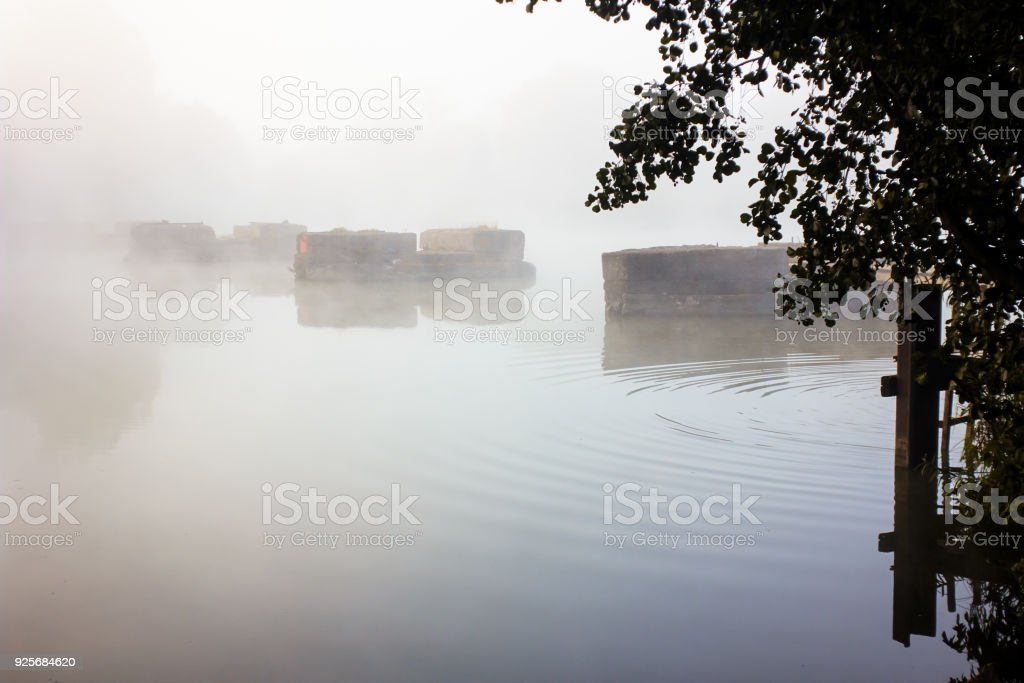Autumn landscape with river stock photo