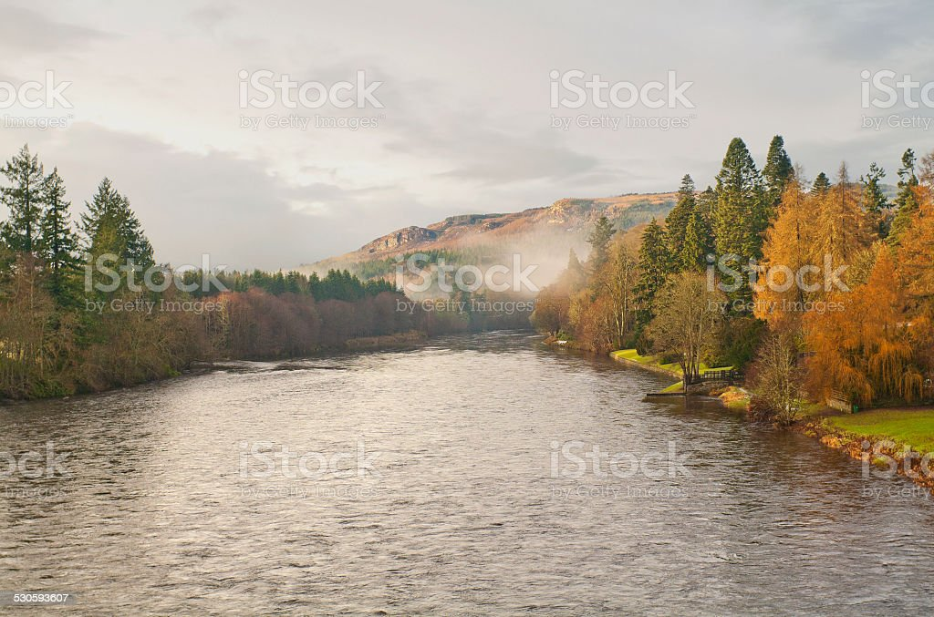 Autumn landscape with river Tay  in Scotland stock photo
