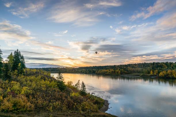 Autumn landscape with sunrise stock photo