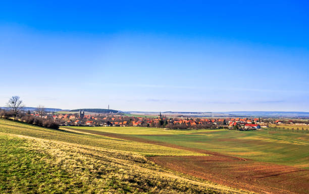 Autumn landscape with view on monastery by Druebeck in Germany stock photo