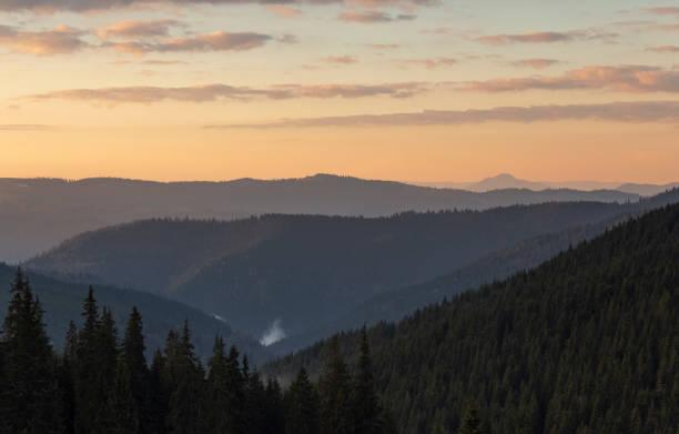 Autumn layers, nature landscape in rodnei mountains before sunrise stock photo