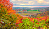 Autumn leaf color landscape of Ottawa Valley, scenic view from Gatineau Park, Quebec, Canada