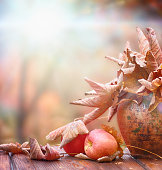 Autumn leaves in a clay pot and apple on wood floor