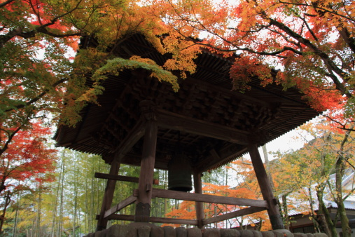 Autumn Leaves And Bell Tower In Japan Stock Photo - Download Image Now