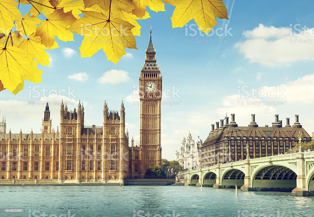 autumn leaves and Big Ben, London stock photo