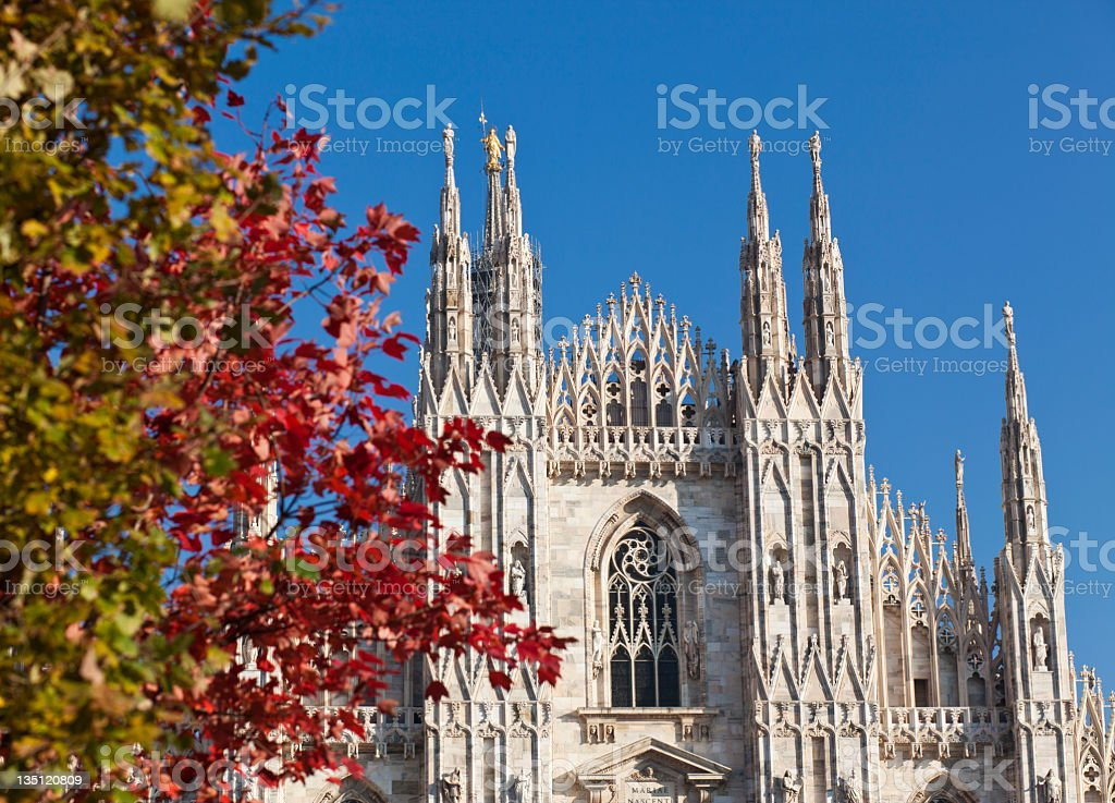 Autumn Leaves And Milan Duomo royalty-free stock photo