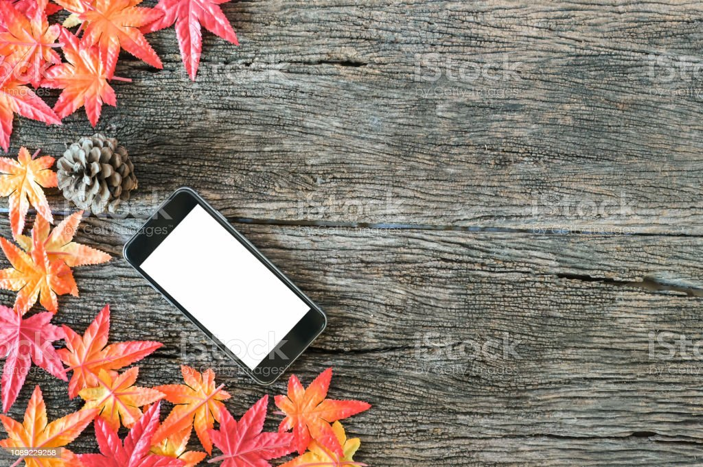 Autumn Leaves And Mockup Mobile Phone On Wooden Nature Background With Copy Space Stock Photo Download Image Now Istock