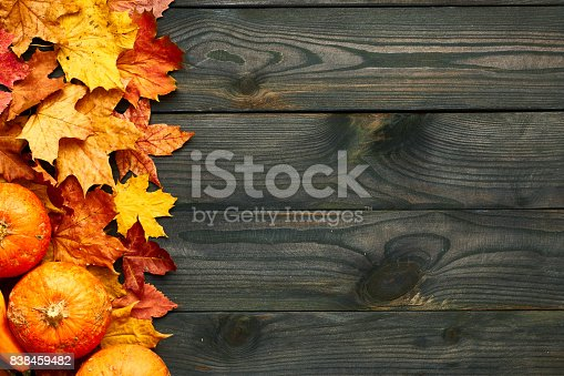 istock Autumn leaves and pumpkins over old wooden background 838459482