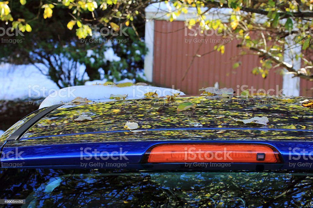Autumn leaves and snow on a car roof stock photo