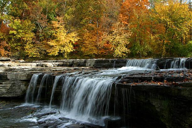 Herbst Blätter und Wasserfall – Foto