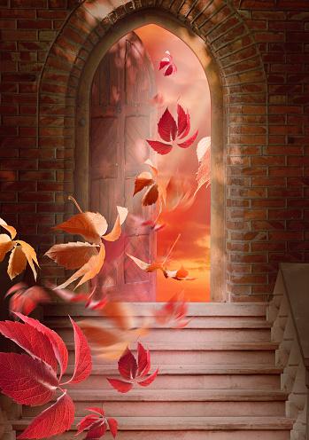 Autumn Leaves Fall Through The Open Door Stock Photo ...