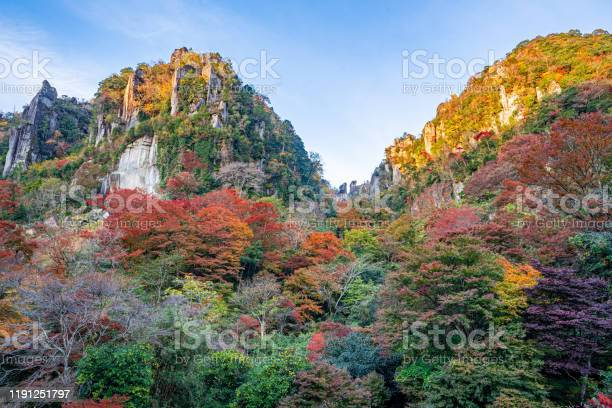 Photo of autumn leaves in the mountains, yabakei, oita, japan