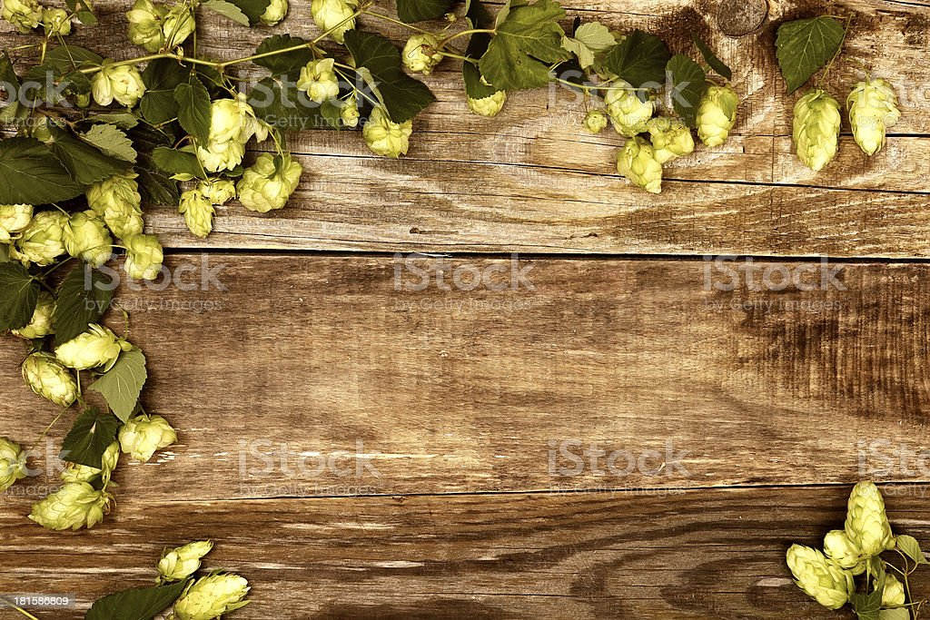 Autumn leaves on old wood royalty-free stock photo