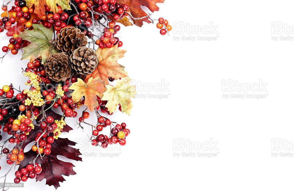 Autumn Leaves Wreath Isolated on White stock photo