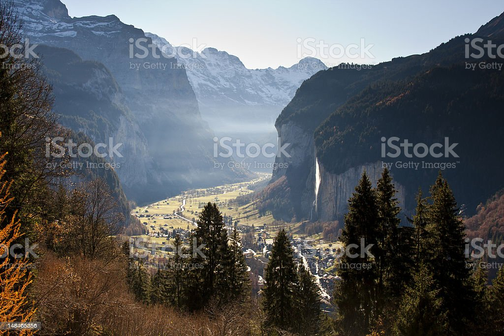 Autumn light over Lauterbrunnen, Switzerland royalty-free stock photo
