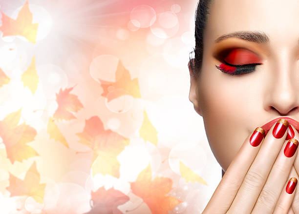 Autumn Makeup and Nail Art Trend. Fall Beauty Fashion Girl stock photo