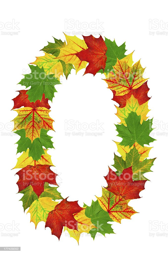 Autumn maple Leaves in the shape of number 0 stock photo