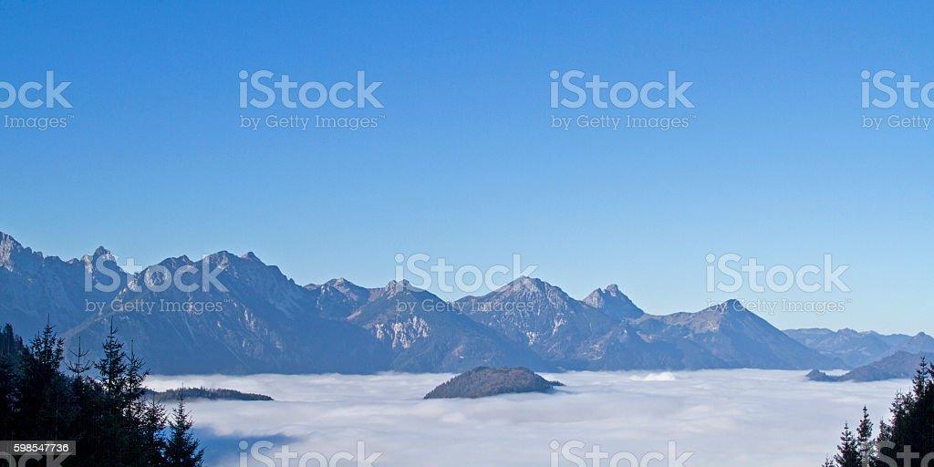 Autumn mist in the mountains stock photo
