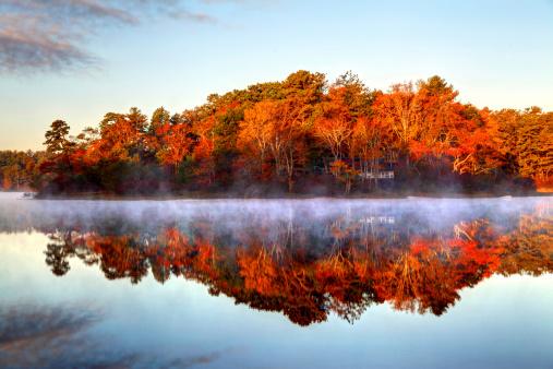 Autumn mist on a small pond in Plymouth, Massachusetts