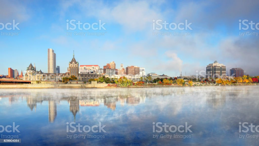 Autumn mist on the Hudson River in Albany, New York stock photo