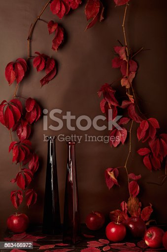 1020586746 istock photo Autumn monochrome still-life in red and burgundy shades. 863466972