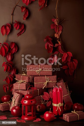 1020586746 istock photo Autumn monochrome still-life in red and burgundy shades. 863466996