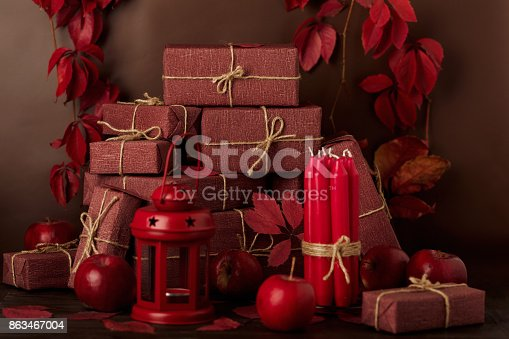 1020586746 istock photo Autumn monochrome still-life in red and burgundy shades. 863467004