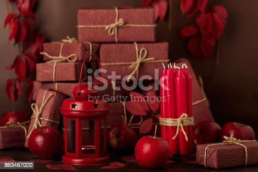1020586746 istock photo Autumn monochrome still-life in red and burgundy shades. 863467020