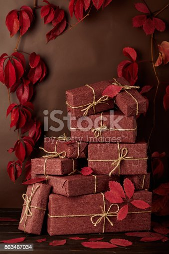 1020586746 istock photo Autumn monochrome still-life in red and burgundy shades. 863467034
