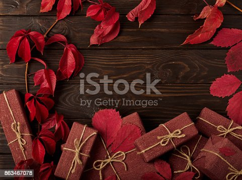 1020586746 istock photo Autumn monochrome still-life in red and burgundy shades. 863467078