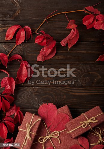 1020586746 istock photo Autumn monochrome still-life in red and burgundy shades. 863467084