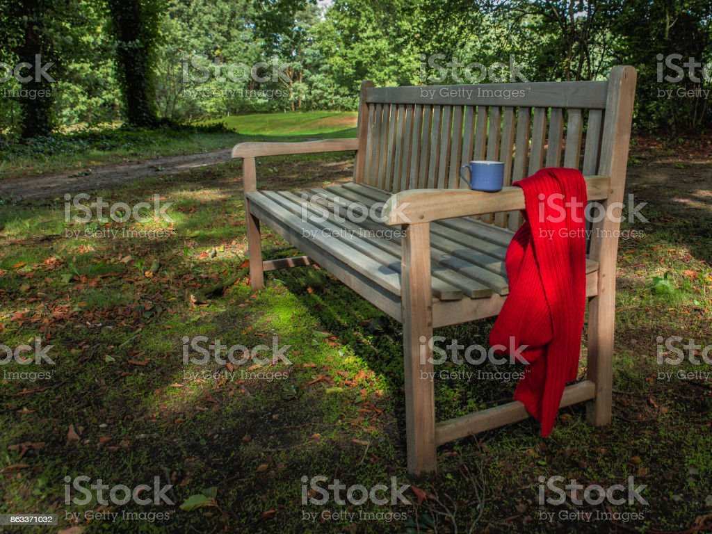 Autumn mood and tranquility in the park with a bench, woll skarf and cup of coffee. stock photo