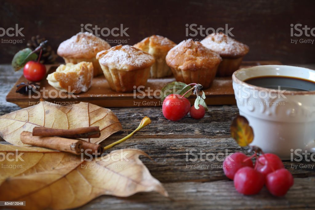 apple muffins and cup of coffee