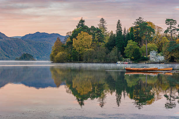 Autumn Morning At Derwentwater Lakeside. stock photo