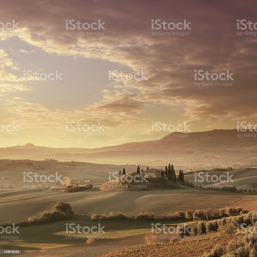 Autumn morning in Tuscany royalty-free stock photo