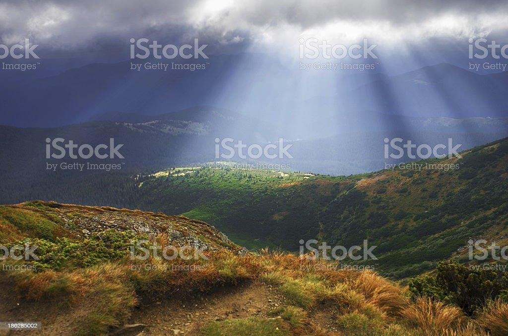 Autumn morning mountain plateau landscape (Carpathian, Ukraine) royalty-free stock photo