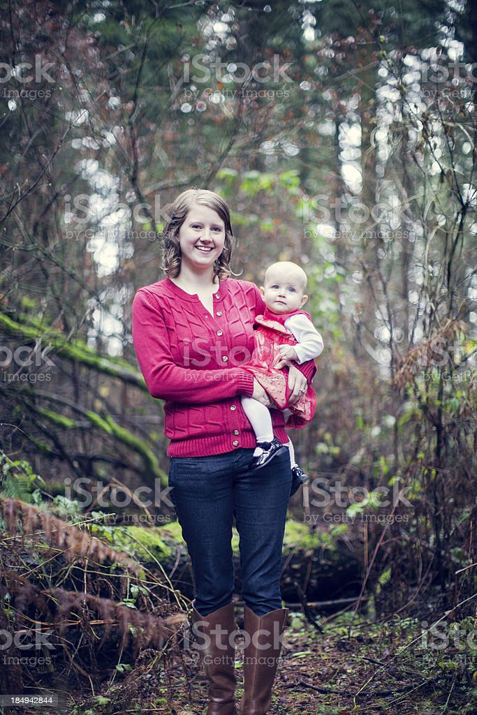 Autumn Mother and Daughter stock photo